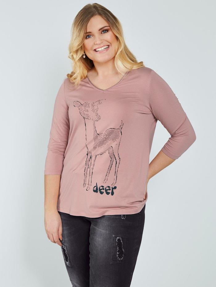 Sara Lindholm Shirt mit Rehkitzdruck, Rosé/Schwarz