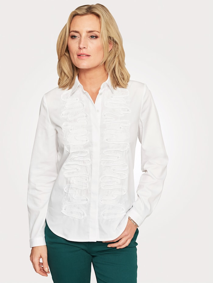 Just White Blouse with decorative appliqué, White