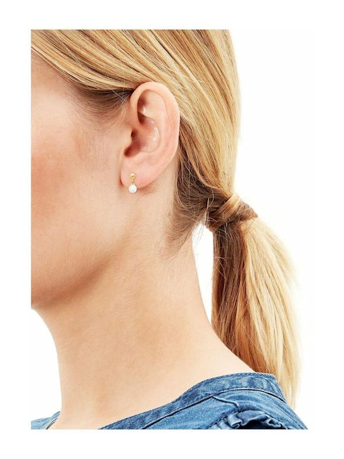 Ohrring für Damen mit Perlen aus gelbvergoldetem Sterling Silber 925