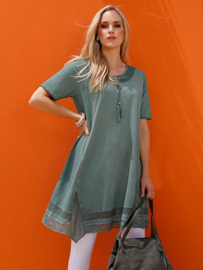 MIAMODA Kleid mit schönen Bändern am Ausschnitt, Grün