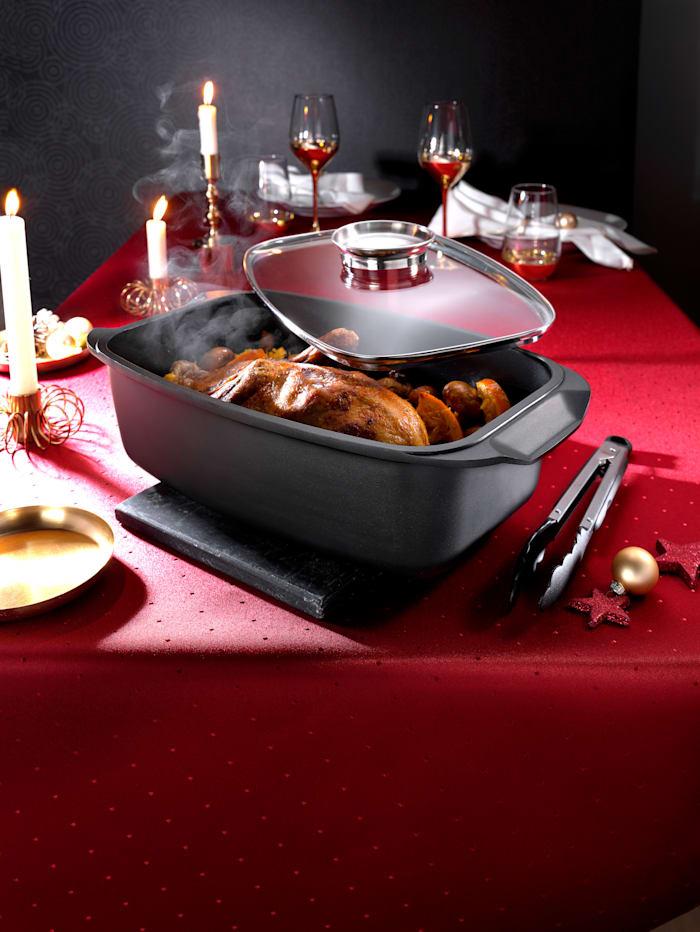 ELO Braadslede met glazen deksel en serveertang, Zwart