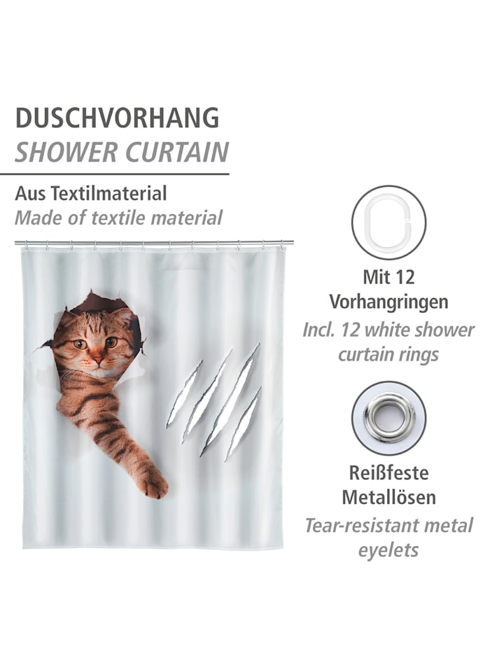 Duschvorhang Cute Cat, Textil (Polyester), 180 x 200 cm, waschbar