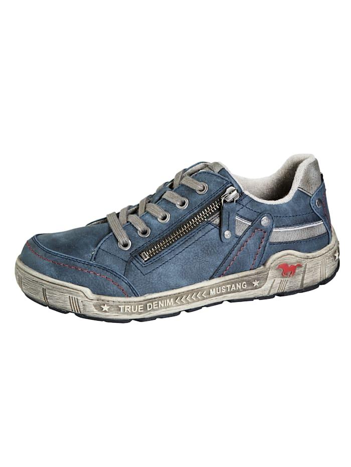 Mustang Sneaker in modischem Used-Look, Blau