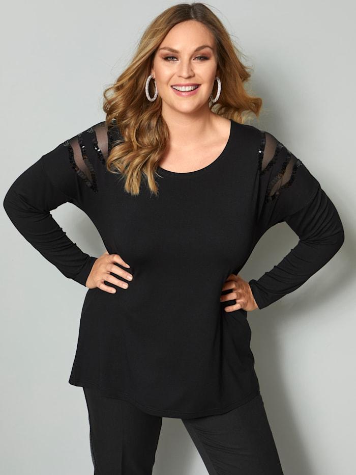 Sara Lindholm Shirt met meshinzetten, Zwart