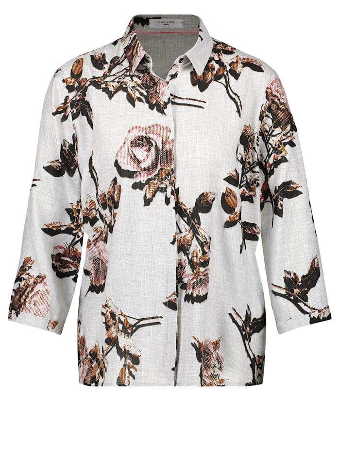 Gerry Weber 3/4 Arm Bluse mit floralem Muster, Grau/Braun Druck
