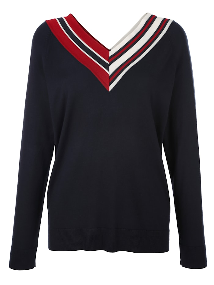 AMY VERMONT Pullover mit kontrastfarbigem V-Ausschnitt, Marineblau/Rot/Weiß