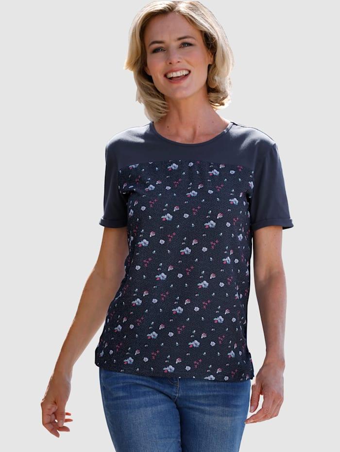 Dress In Shirt van een materialenmix, Marine