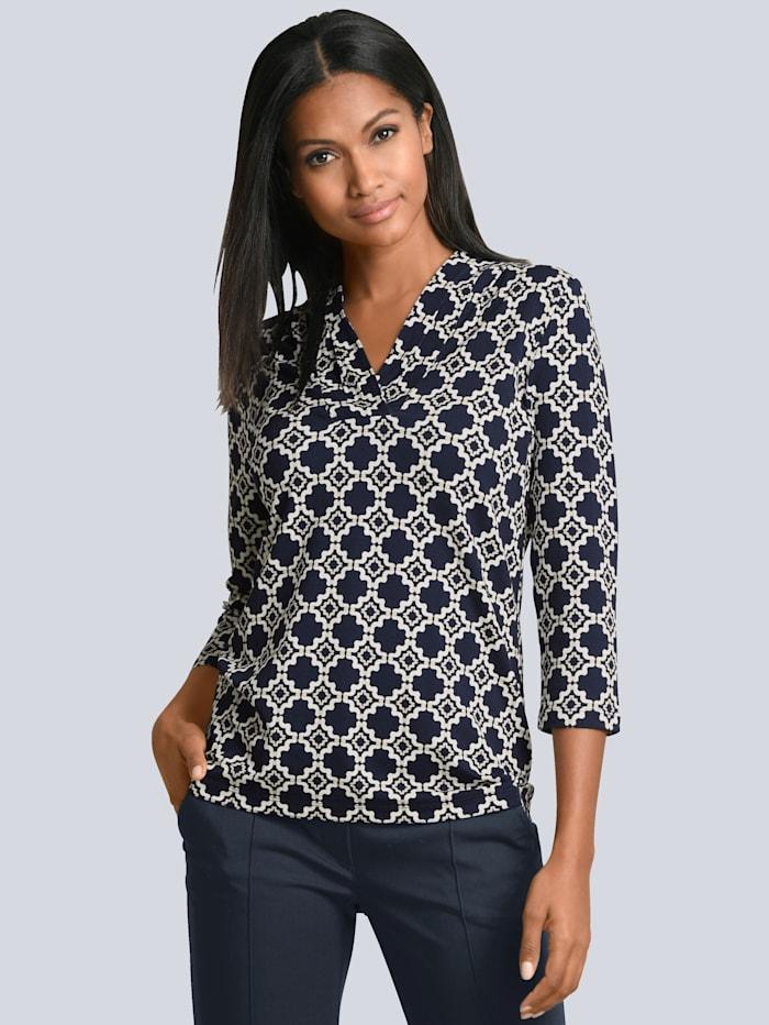 Alba Moda Druck-Shirt mit farbharmonischem Ornamente-Print allover, Marineblau/Off-white/Beige