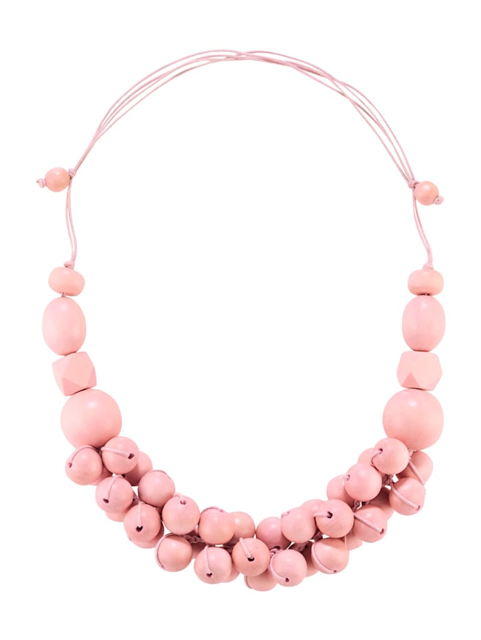 Ketting met houten kraaltjes, Roze