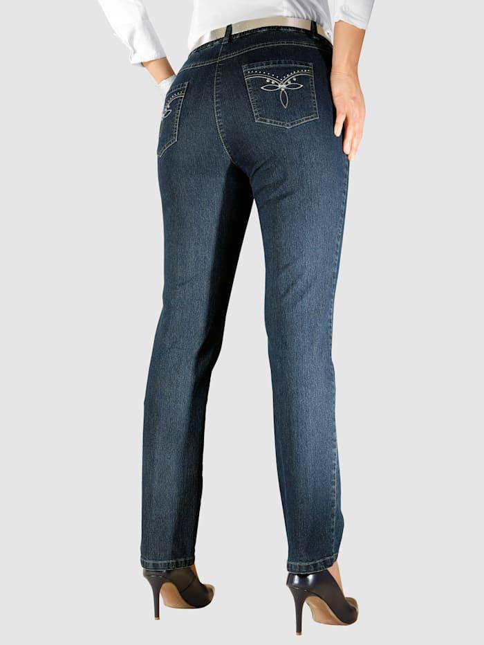 m. collection Jeans med resår i midjan, Dark blue