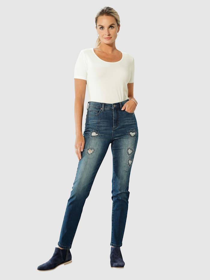 Jeans met hartvormige cut-outs met kant