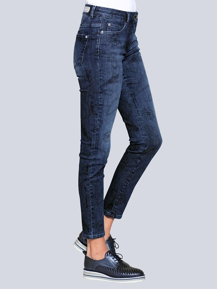 Alba Moda Džínsy s exkluzívnym dizajnom potlače, Blue stone