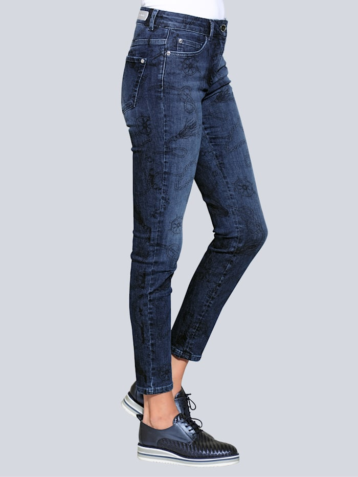 Alba Moda Jeans mit exklusivem Druck-Dessin, Blue stone