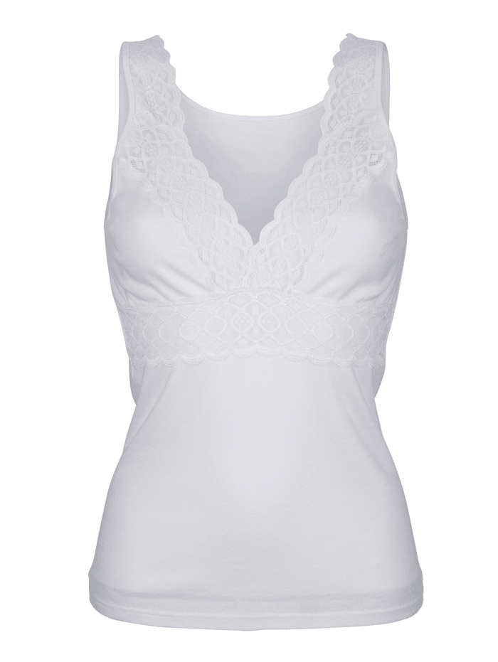 Blue Moon Bra Top with an elasticated hem, White
