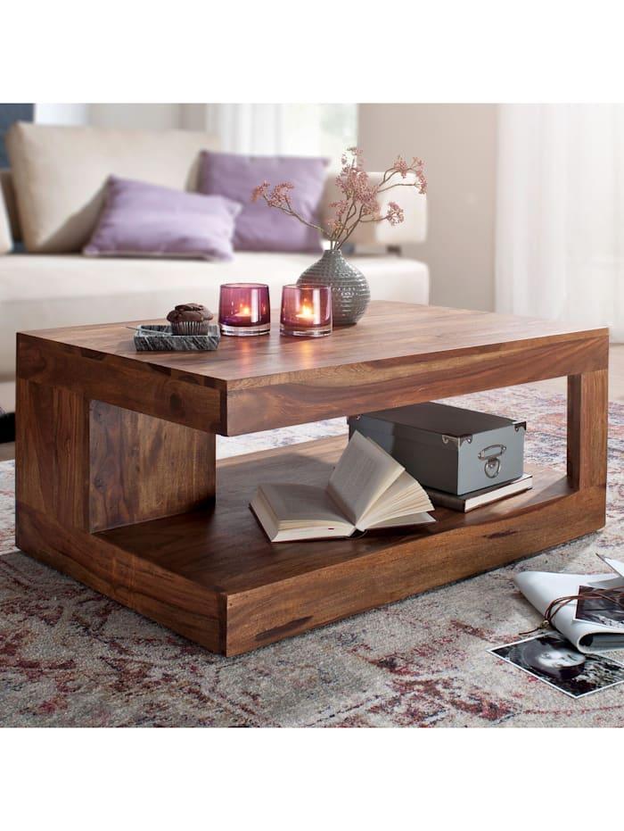 finebuy Couchtisch Massiv-Holz 90 cm Design Wohnzimmer-Tisch dunkel-braun Landhaus-Stil Beistelltisch, Dunkelbraun