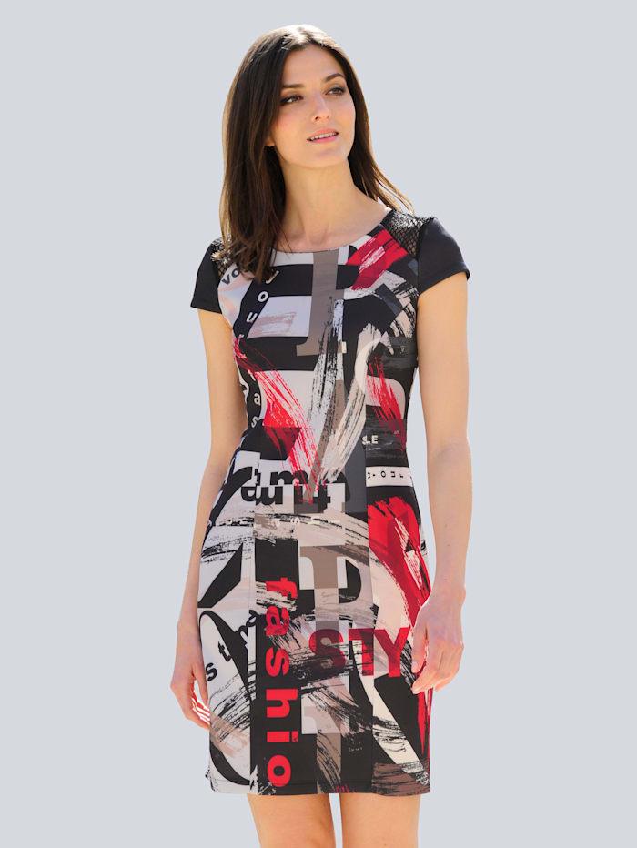 Alba Moda Jerseykleid mit abstraktem Print allover, Schwarz/Rot/Taupe