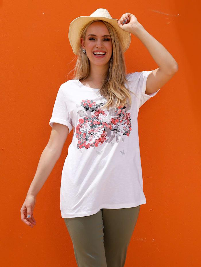 MIAMODA T-shirt à imprimé placé, Blanc