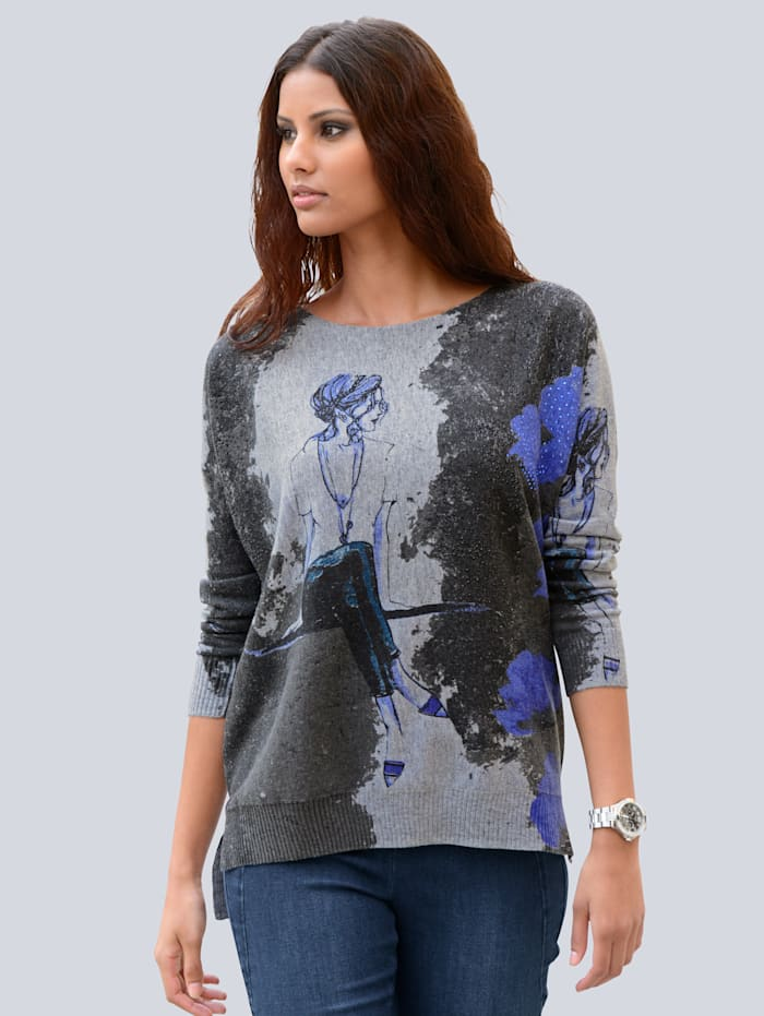 Alba Moda Pullover in trendiger Oversizedform, Grau/Marineblau