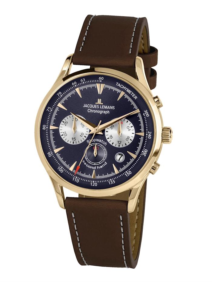 Jacques Lemans Herren-Chronograph Serie: Retro Classic, Kollektion: Retro Classic: 1- 2068K, Dunkelbraun