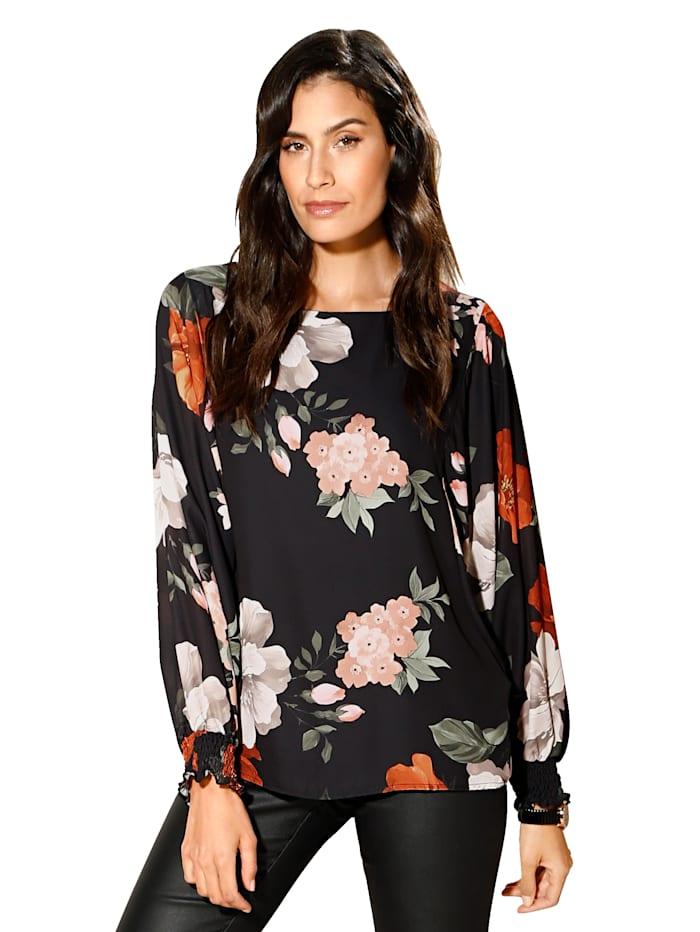AMY VERMONT Bluse mit floralem Druck, Schwarz/Multicolor