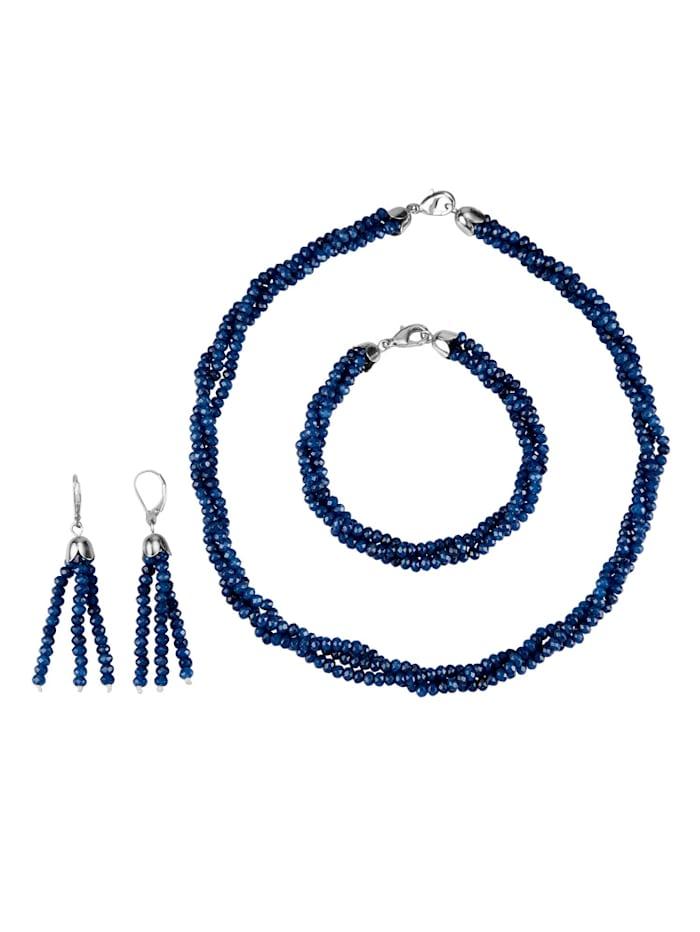 Diemer Farbstein Halsband, armband och örhängen, Blå