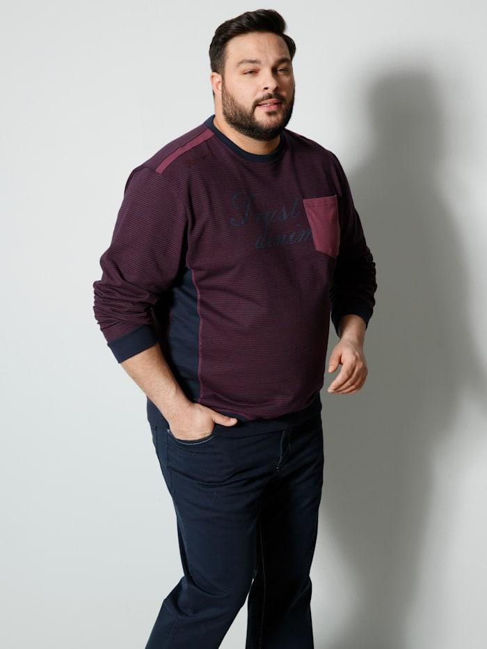 Men Plus Sweatshirt mit kontrast Besatz, Marineblau/Bordeaux