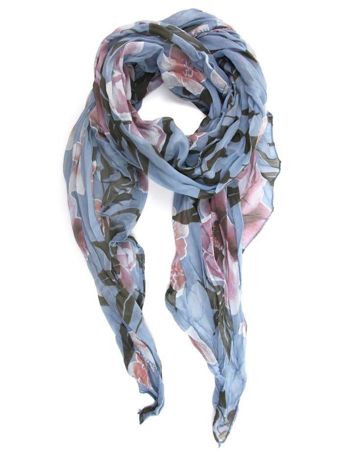 Collezione Alessandro Italienischer Schal Veerle mit floralem Muster, bleu