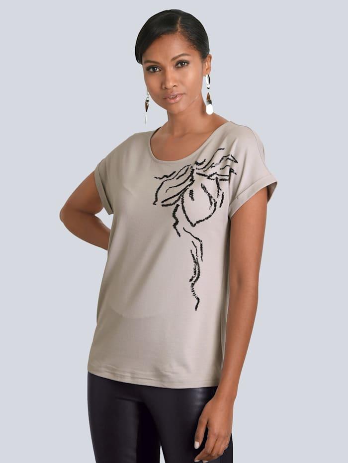 Alba Moda Shirt mit schöner Pailletten-Applikation im Vorderteil, Grau