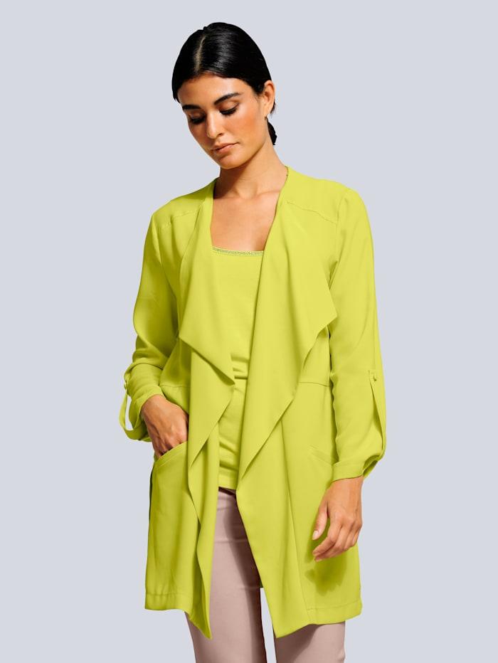 Alba Moda Blusenjacke aus fließender Ware, Limettengrün