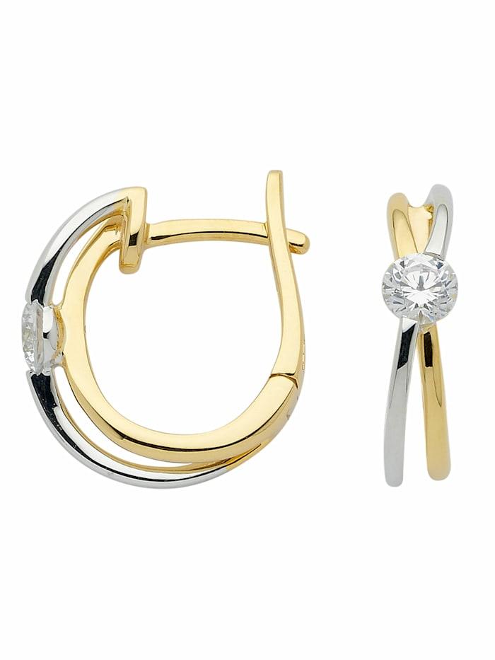 1001 Diamonds 1001 Diamonds Damen Goldschmuck 375 Bicolor Ohrringe / Creolen mit Zirkonia, gold