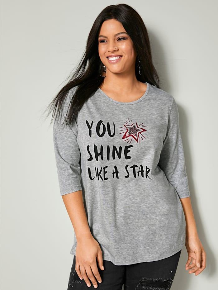 Angel of Style Shirt mit Schriftzug, Hellgrau