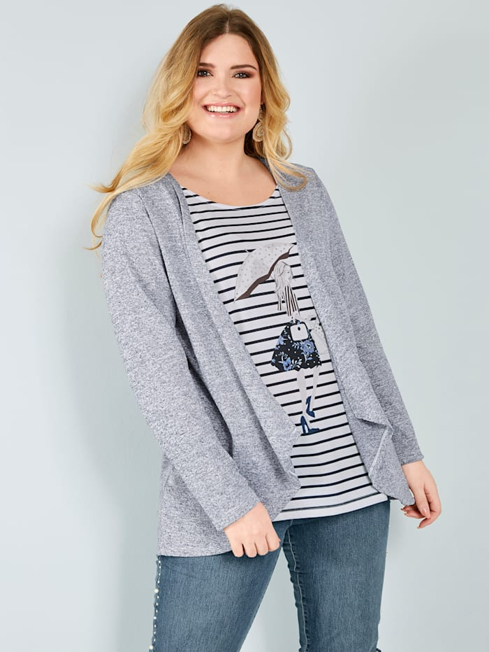 Sara Lindholm 2in1-Shirt mit melierter Optik, Marineblau/Weiß