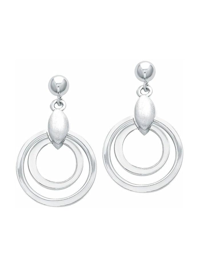amor Ohrring für Damen 2,5 cm geometrisch 925 Sterling Silber teil-mattiert, Silber