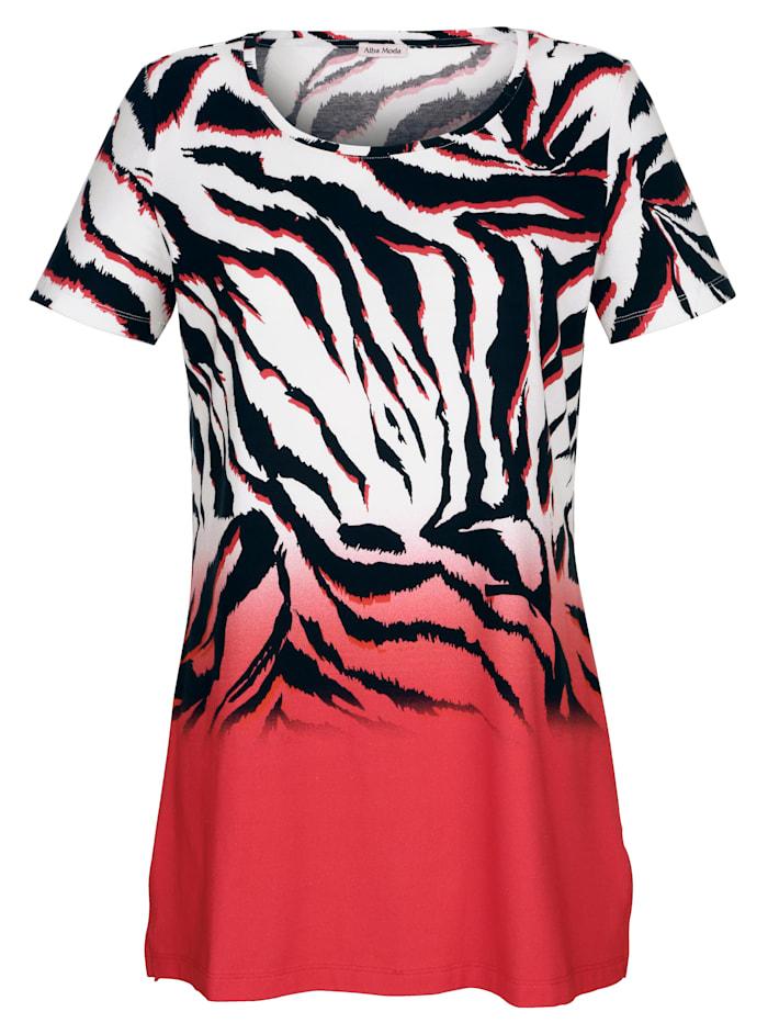 Alba Moda Strandshirt mit Farbverlauf, Rot-Schwarz-Weiss
