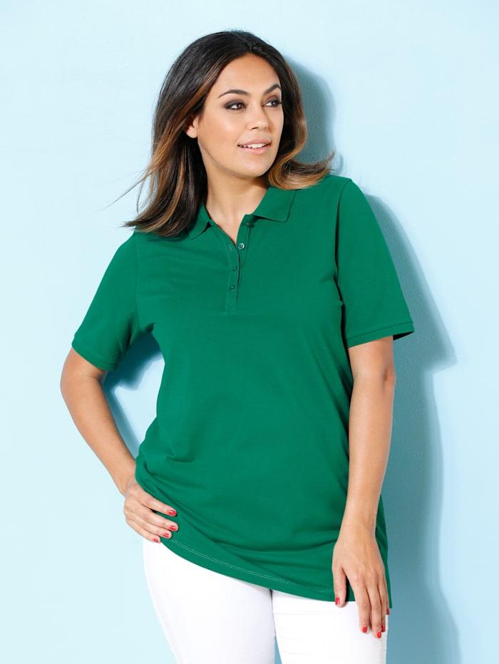 MIAMODA Poloshirt aus leicht strukturiertem Baumwollmaterial, Grün
