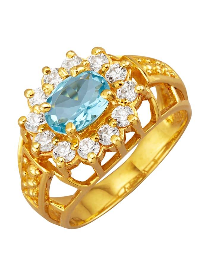 Golden Style Damenring mit 1 blauen Glasstein, Hellblau