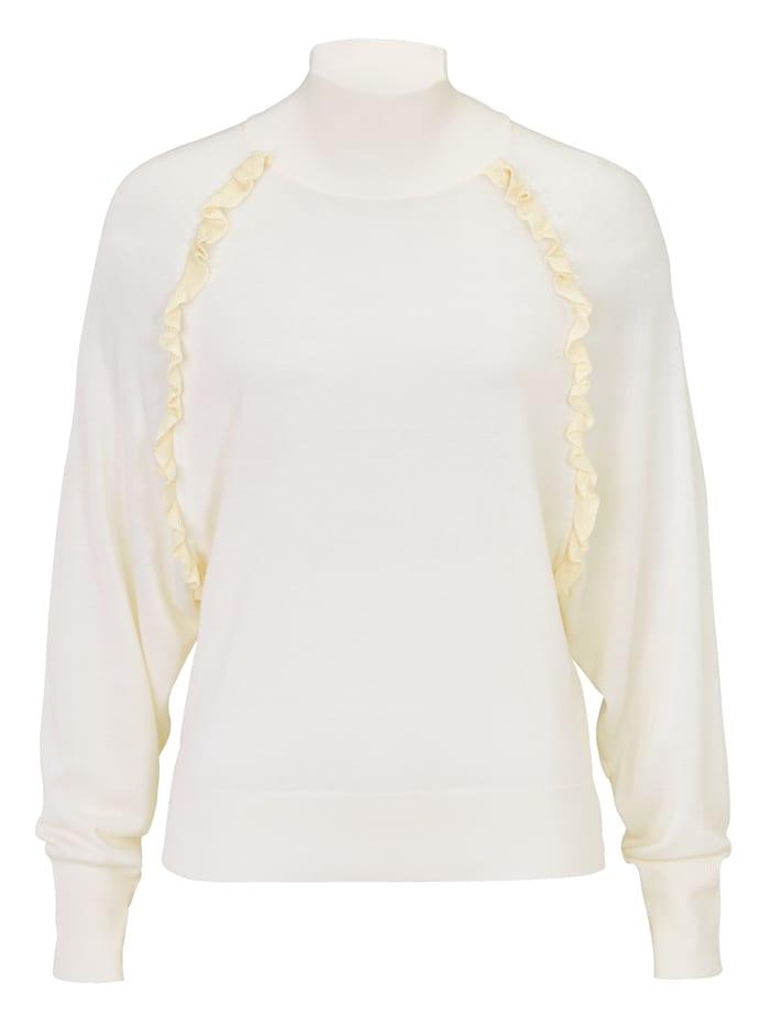 LIU JO Pullover mit Rüschen, Creme-Weiß