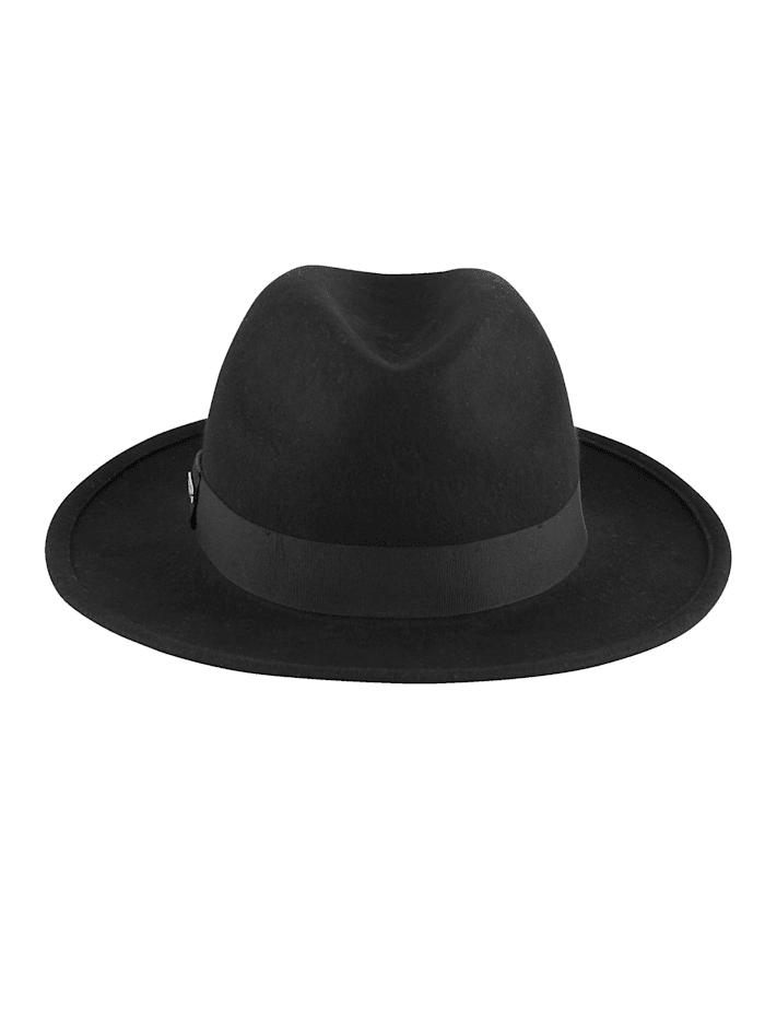 Seeberger Plstěný klobouk z čisté vlny, Černá