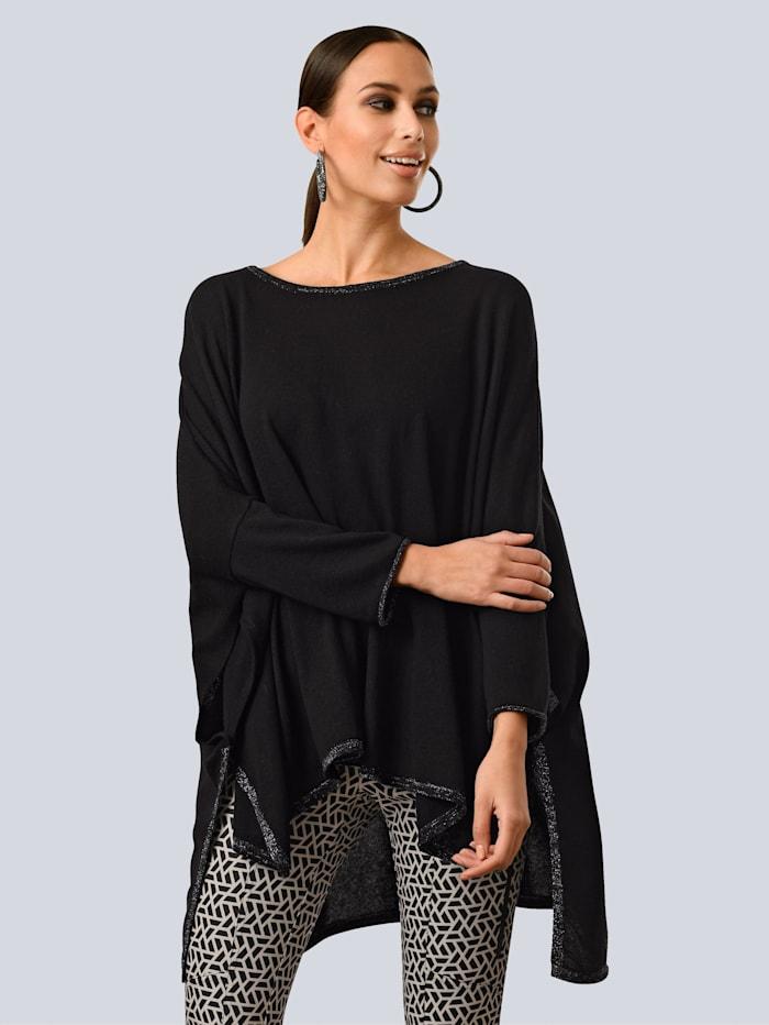 Alba Moda Poncho-Pullover mit dezenten Glanzgarn-Details, Schwarz/Silberfarben
