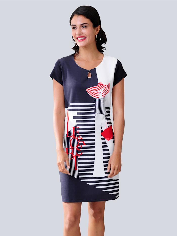 Alba Moda Jerseykleid in trageangenehmer elastischer Jerseyqualität, Marineblau/Rot