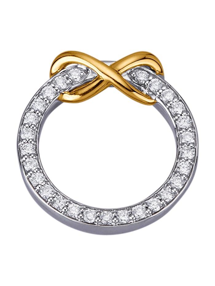 Amara Diamants Pendentif en or jaune et or blanc 585, Blanc