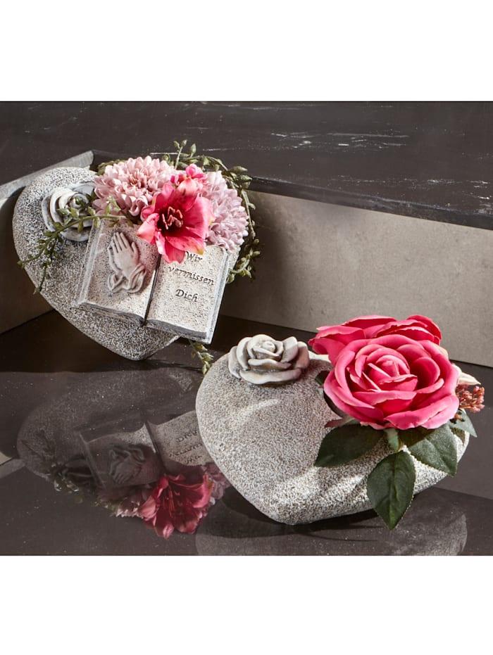 Arrangement funéraire avec roses, gris/rose