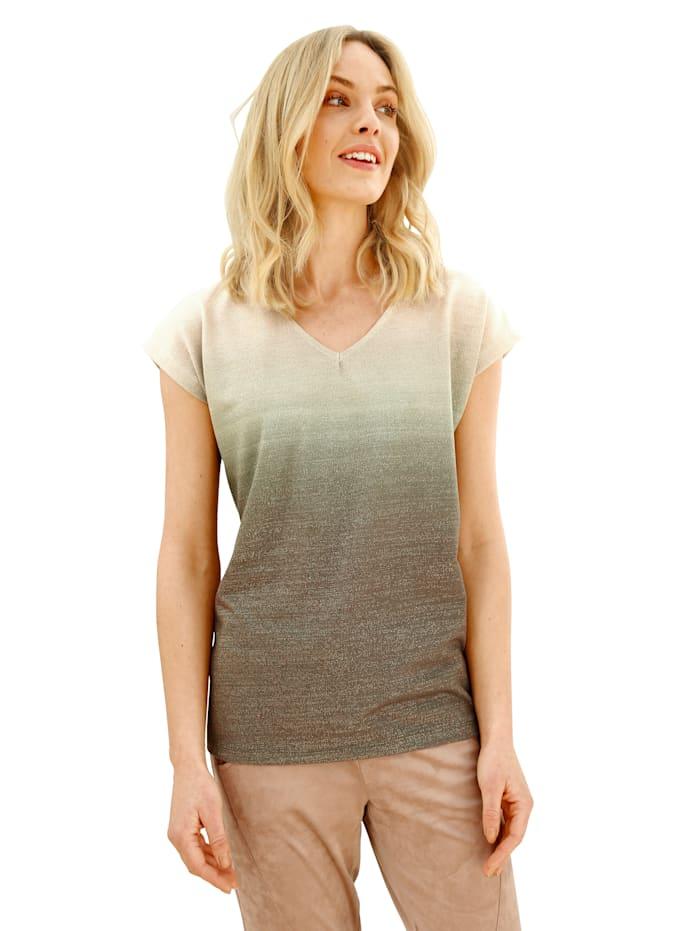 AMY VERMONT T-shirt à dégradé de couleurs, Beige/Olive