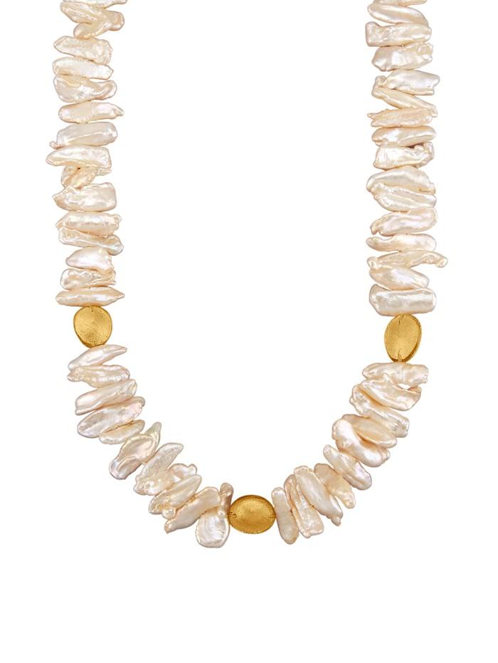 Amara Perles Collier en perles de culture d'eau douce avec perles de culture d'eau douce et cristal de roche, Blanc