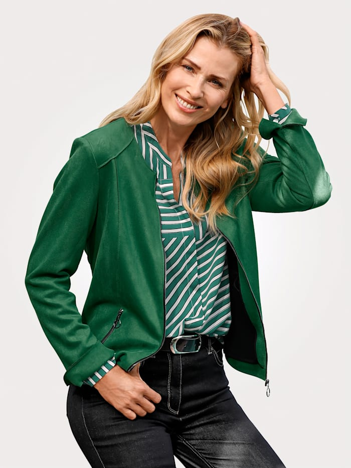 MONA Faux leather blazer made from a soft fabric, Green