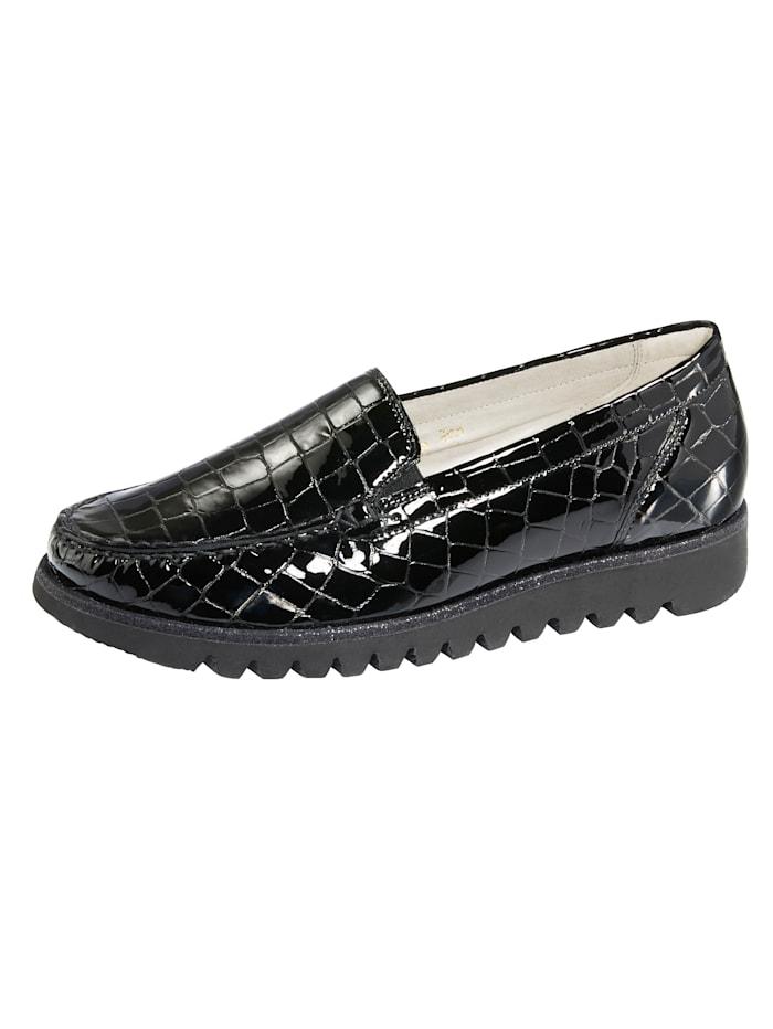 Waldläufer Moccasins with a comfortable EVA sole, Black