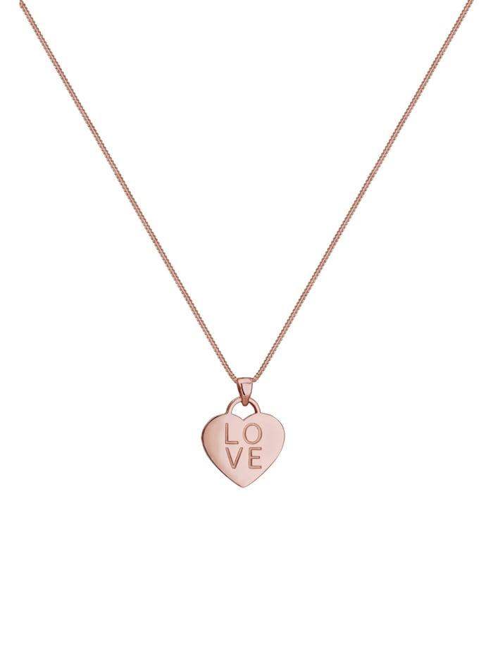 Halskette Panzerkette Herz Love Wording Anhänger 925 Silber