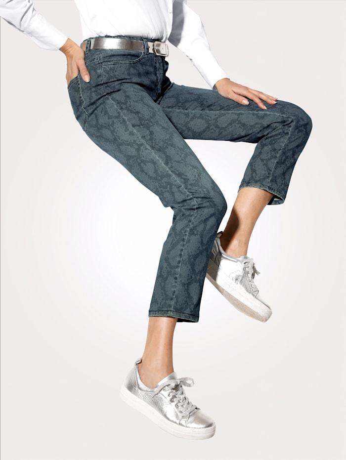 MONA Jeans met trendy slangenpatroon, Blauw