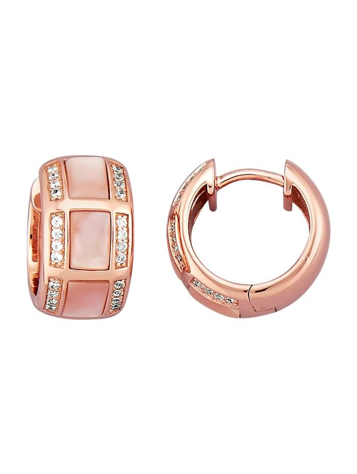 Diemer Perle Klapcreolen met roze parelmoer, Roze