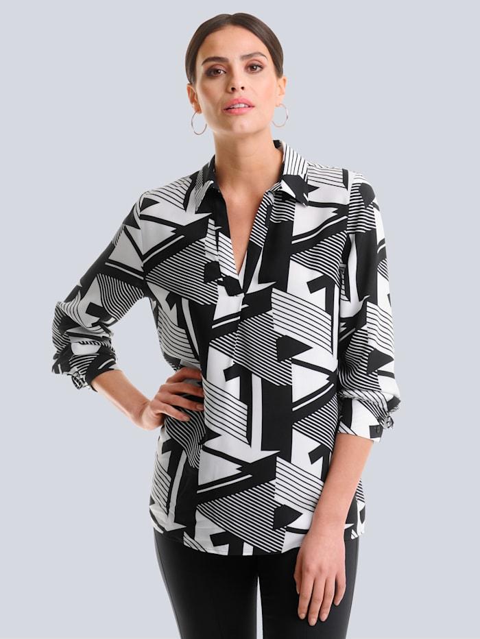 Alba Moda Bluse mit grafischem Print allover, Schwarz/Weiß